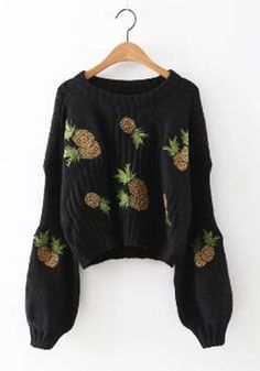 Black Floral Embroidery Round Neck Streetwear Knit Pullover Sweater