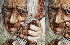 """Here's an amazing portrait done entirely by paper quilling! Paper quilling is the use of strips of paper that are rolled, shaped, and glued down. The Russian-born UK artist Yulia Brodskaya says, """"After working with paper quilling for over. Arte Quilling, Paper Quilling Patterns, Quilled Paper Art, Art And Illustration, Graphic Illustrations, Art Texture, Quilled Creations, Paper Artwork, Wow Art"""