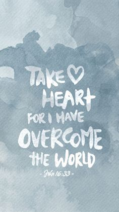John 16:33 Take Heart iPhone watercolor wallpaper download by ChameleonDesigns