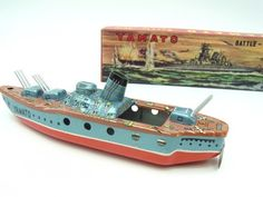 1950s Tin Toy Battle ship YAMATO made in Japan w/ Box Vintage Rare JAPAN 1379