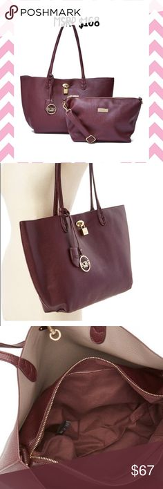 BCBG merlot tote w/ matching crossbody NEW BCBG merlot with grey interior handbag tote with matching crossbody purse. New with tags. Retail price is $168. Color is merlot and is closer to dark brown than to red to me. BCBG Bags Totes