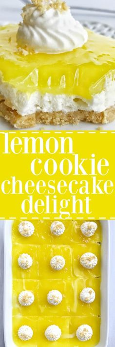 Lemon Oreo cookie crust, a creamy no-bake cheesecake center, and topped with lemon pie filling! If you love lemon then you are going to love this lemon cookie cheesecake delight. Perfectly sweet, tart, and bursting with lemon flavor in every bite. Brownie Desserts, Lemon Desserts, Lemon Recipes, Köstliche Desserts, Sweet Recipes, Delicious Desserts, Dessert Recipes, Yummy Food, Ham Recipes