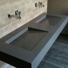 Design Architecture (@MDMobilierDesig) | Twitter Concrete Sink, Concrete Furniture, Bathroom Furniture, Concrete Bathroom, Concrete Countertops, Kitchen Furniture, Toilette Design, Restroom Design, Bathroom Interior Design