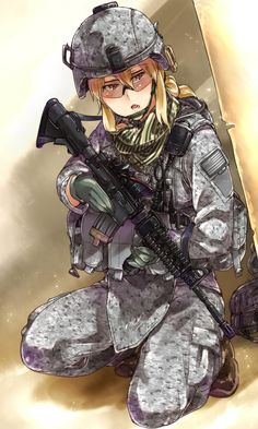 1girl acog american_flag assault_rifle ayyh blonde_hair boots camouflage digital_camouflage emblem glasses gloves gun highres kneeling load_bearing_vest m4_carbine military open_mouth original plate_carrier ponytail red_eyes rifle safety_glasses scarf trigger_discipline vertical_foregrip weapon