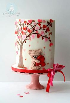 Teddy and heart tree Cake design