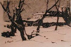 Vyacheslav N. Kozlov : Landscape in black and white, 1960s Черно-белый пейзаж, 1960е
