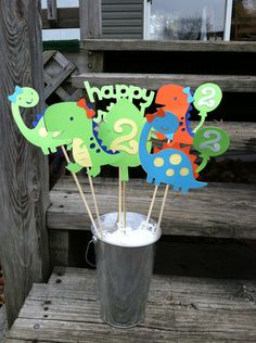 Dinosaur Theme Centerpiece Set of 6 With Or Without Bows. $11.50, via Etsy.