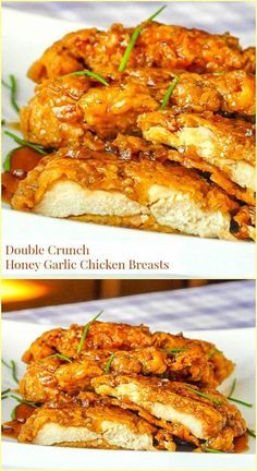 Double Crunch Honey Garlic Chicken Breasts - millions of views online! Double Crunch Honey Garlic Chicken Breasts - Our most popular recipe of the last 5 years! Super crunchy, double coated chicken breasts get d Chicken Thights Recipes, Chicken Parmesan Recipes, Easy Chicken Recipes, Recipe Chicken, Chicken Salad, Chicken Bites, Butter Chicken, Healthy Chicken Meals, Chicken Bacon