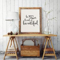 Be your own kind of beautiful  This beautiful piece of watercolor typography is an instant download that features a swooping black