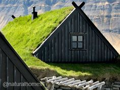 Green Roofs around the World - This is one of Iceland's 18th century fishing stations. It's built using thick dry stone walls with a timber roof under thick insulating layers of turf. This is the maritime museum just outside Bolungarvik.