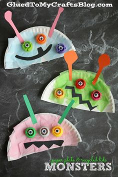 Kids Crafts For School - Paper Plate Recycled Lid Monster Kid Craft. Kids Crafts, Paper Plate Crafts For Kids, Daycare Crafts, Toddler Crafts, Arts And Crafts, Space Crafts Preschool, Space Crafts For Kids, October Preschool Crafts, Recycled Crafts For Kids