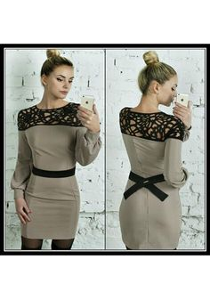 698a51b0bf27 Grey Patchwork Lace Back Bow Hollow-out Lantern Sleeve Round Neck Mini Dress