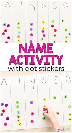 Use this dot sticker name recognition activity to teach preschoolers their name in a fun, hands-on way! This dot sticker name recognition activity is a fun, hands-on way for preschoolers to learn their name while developing fine motor skills. Preschool Name Recognition, Name Activities Preschool, Preschool Learning Activities, Letter Activities, Preschool Lessons, Preschool Classroom, Toddler Activities, Teaching Kids, Kids Learning