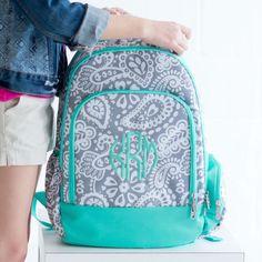 Monogram Girl's Backpack - Paisley Knapsack - Personalized Backpack - Girl's Backpack - Initials School Bag - Monogrammed Backpack - Gift by SerenityoftheSouth on Etsy #monogram #paisley #backpack