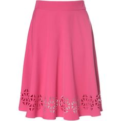 Hot Pink Midi Skirt With Laser Cut Hem found on Polyvore featuring polyvore, fashion, clothing, skirts, pink, flared midi skirt, midi circle skirt, hot pink skater skirt, high waisted skirts and skater skirt
