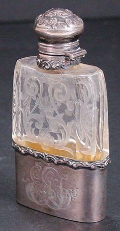 The Common Thread - Antique perfume bottle with etched glass