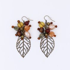 Rustic Leaf Cluster Earrings Fall Vibes Bohemian Peach Red Brown Beige Amber Filigree Antique Bronze Natural Tones by MoonRoseDesign