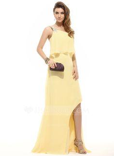 A-Line/Princess One-Shoulder Asymmetrical Chiffon Prom Dress With Beading Cascading Ruffles (018016092)