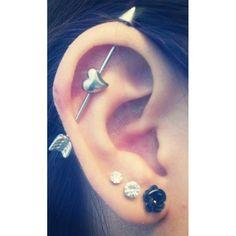 heart arrow industrial piercing ❤ liked on Polyvore featuring jewelry, earrings, piercings, accessories, tattoos, heart shaped earrings, tattoo jewelry, tattoo earrings, earrings jewelry and heart jewelry