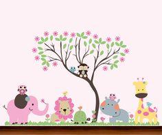 Bright+Pink+Girls+Big+Nursery+Jungle+Curvy+Tree+by+WhimsyWallArt,+$129.00