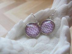 Chevron earrings Picture earrings Glass domed earrings Boho earrings Silver…