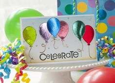 Celebate card by Alice Golden for Thermoweb - using Deco Foil Craft Foil, Deco Foil, Shops, Foil Paper, Card Tutorials, Foil Stamping, Foil Balloons, Happy Birthday Cards, Homemade Cards