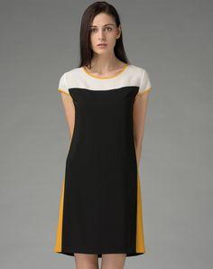 #AdoreWe #VIPme Shift Dresses - SAINTY Black Yellow Short Sleeve Chiffon Shift Dress - AdoreWe.com