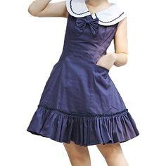 Partiss Women's Sweet Love Bows Sleeveless Cotton Lolita Dress (510 CNY) via Polyvore featuring dresses, blue dress, blue cotton dress, cotton dresses, cotton day dresses and bow dress