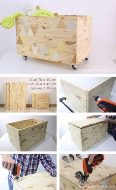 Best 11 Tutorial DIY Caja de cuentos wood & chalkboard bY Ninomaru Skill Boys Toy Box, Diy Casa, Diy Holz, Kids Room Design, Wood Toys, Diy Wood Projects, Wooden Diy, Boy Room, Cheap Home Decor