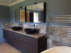 reclaimed wood tiles kitchen splashback