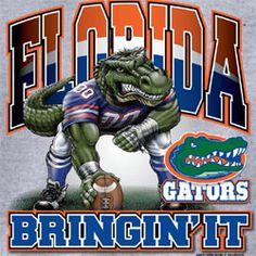 Florida Gators Football T-Shirts - Bringin It - Three Point Stance - Unique College T-Shirts Fla Gators, Florida Gators Football, Sec Football, College Football Teams, Football Season, Football Stuff, Sports Teams, College Sport, Football Crafts