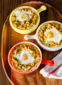 Spiced Lentils With Egg Recipes from The Kitchn | 1 cup red lentils 1 cup yellow split peas 1 tablespoon olive oil 2 large shallots or 4 small shallots, minced (about 1/2 cup) 2 cloves garlic, minced 2 teaspoons garam masala 4 cups low-sodium chicken or vegetable broth Salt and freshly ground pepper 1 cup finely chopped cilantro leaves, from one small bunch 4 large eggs