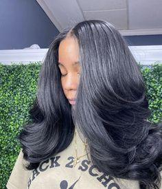 Baddie Hairstyles, Weave Hairstyles, Pretty Hairstyles, Straight Hairstyles, Black Hairstyles, Casual Hairstyles, African Hairstyles, Pressed Natural Hair, Curly Hair Styles