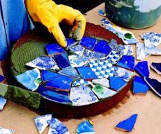 Broken China Mosaic Garden Stones | The WHOot                                                                                                                                                      More