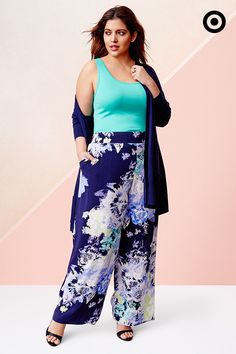 8c5e8cbe7d09c AVA   VIV · Classic florals look right at home on a pair of Plus palazzo  pants  paired with