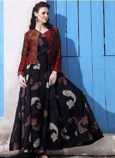 Friendly Indian Designer Anarkali Salwar Kameez Beautiful Embroidery Occasional Wear Suit Mild And Mellow Clothing, Shoes & Accessories