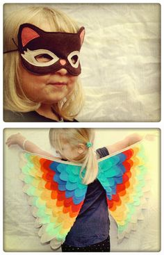 Sparrow & b handmade bird costume wings and cat mask