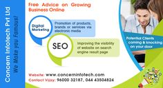 Concern InfoTech is best SEO Company in Chennai. We provide Professional SEO services that help you to make brand awareness and better ROI. Our SEO expert in Chennai creates brand visibility using ethical SEO techniques. visit: http://www.concerninfotech.com/seo-company-chennai.html