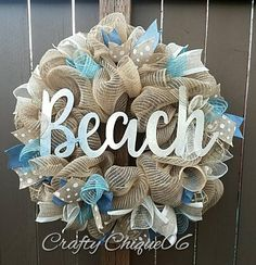 Beach Wreath Burlap Beach House Wreath Beach House Decor