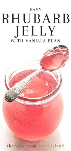 Rhubarb Vanilla Bean Jelly ~ this rhubarb jelly flecked with vanilla bean turns morning toast or a peanut butter and jelly sandwich into a gourmet treat. Jelly Recipes, Beef Recipes, Easy Jam Recipes, Freezer Jam Recipes, Curry Recipes, Recipes Dinner, Cooker Recipes, Rhubarb Jelly, Rhubarb Vanilla Jam
