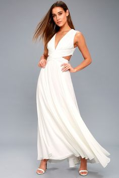 Your wildest dreams can come true in the Vivid Imagination White Cutout Maxi Dress! Maxi dress with a pleated, V-neck bodice and side cutouts. Wedding Dresses Under 100, Stunning Wedding Dresses, Bridal Dresses, Prom Dresses, White Dresses For Women, Little White Dresses, Corsage, Cute Dresses, Short Dresses