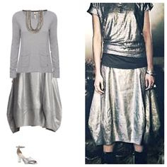 Silver Metallic Lantern Bubble Linen Skirt EILEEN FISHER Silver Glimmer Linen Stretch Faux Wrap Skirt - this calf length lantern skirt features; 2-inch yoke waist and side zip for smooth fit closure. Wide, tapered hem drapes at the sides, topstitch details. Italian Fabric, Machine Washable. Eileen Fisher Skirts