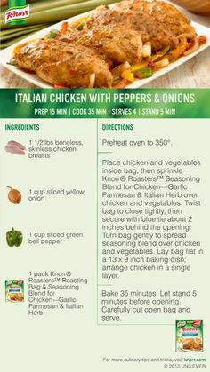 """I voted for Italian Chicken with Peppers & Onions in the """"What's for Dinner Tonight? Onion Recipes, Turkey Recipes, Meat Recipes, Chicken Recipes, Cooking Recipes, Healthy Recipes, Chicken With Peppers And Onions Recipe, Chicken Stuffed Peppers, Quick Dinner Recipes"""
