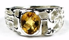 SR197, Citrine, 925 Sterling Silver Men's Ring * Stone Type - Citrine * Approximate Stone Size - 8x6mm  * Approximate Stone Weight - 1.5 ct  * Jewelry Metal - Solid 925 Sterling Silver * Approximate Metal Weight - 2.6 grams  * Ring Size - Size selectable during checkout * Our Warranty - A full year on workmanship  * Our Guarantee - Totally unconditional 30 day guarantee