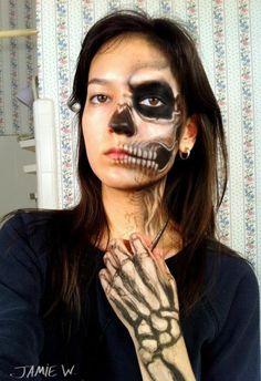 half skull makeup - Google Search
