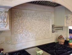 Jacqueline Vine, a natural stone mosaic shown in polished Botticino, is part of the Silk Road Collection by Sara Baldwin for New Ravenna Mosaics.<br /> -photo courtesy of Virginia Tile, Troy MI and designer Debbie Leroy. Stove Backsplash, Mosaic Backsplash, Backsplash Ideas, Tile Ideas, Ravenna Mosaics, Kitchen Mosaic, New Ravenna, Stone Mosaic, Mosaic Art