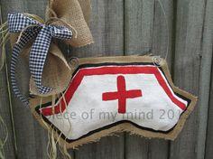 Nurse Hat Burlap Door Hanger by nursejeanneg on Etsy Burlap Door Hangings, Burlap Art, Painting Burlap, Burlap Crafts, Wreath Crafts, Diy And Crafts, Burlap Wreaths, Kids Art Class, Art For Kids