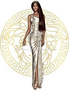 Naomi Campbell at the Versace #SS2018 show #springsummer2018 #digitaldrawing by David Mandeiro Illustrations #digitalart #NaomiCampbell #Versace #Wacom #digitalpainting #fashion