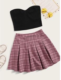 Girls Fashion Clothes, Teen Fashion Outfits, Retro Outfits, Girly Outfits, Outfits For Teens, Trendy Outfits, Girl Fashion, Jugend Mode Outfits, Plaid Pleated Skirt