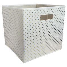 Fabric Cube Storage Bin Gold Dots - Pillowfort, White